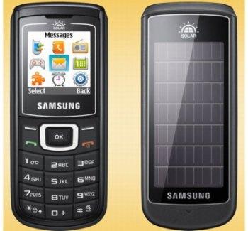 Мобильный телефон Samsung E1107 Crest Solar оснащен солнечными батареями
